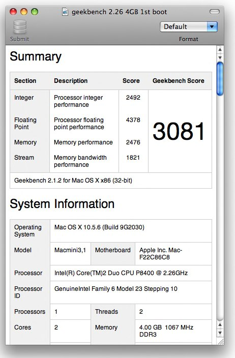 Geekbench Mac mini 2.26 GHz
