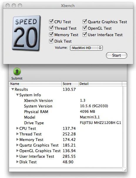 Xbench Mac mini 2.26 results